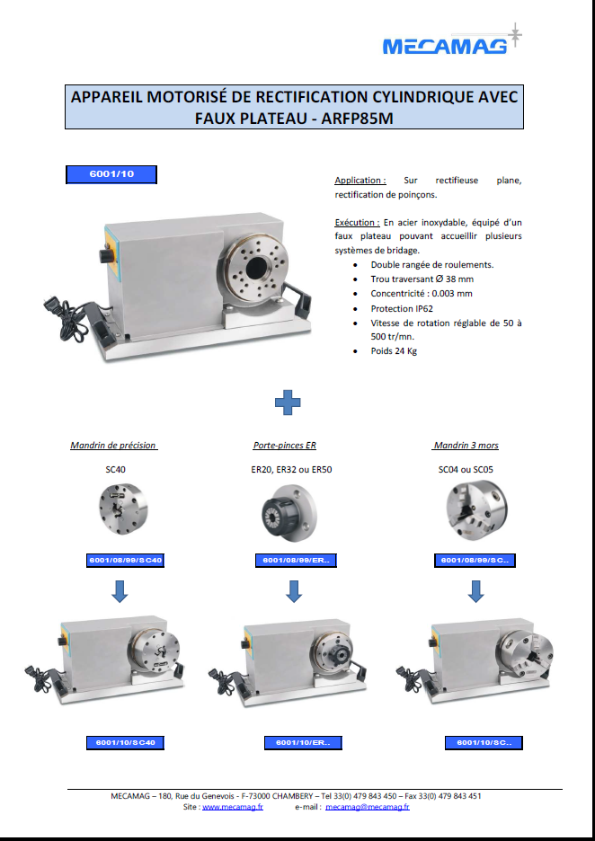 Appareil de rectification cylindrique motorisé inoxydable